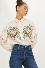 Topshop Floral Embroidered Shirt Pink Size UK 8 Dh094 JJ 11