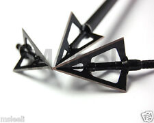 3PCs Strength Steel Broadheads Black Whirlwind 3 Sharp Blade Hunting arrow Point