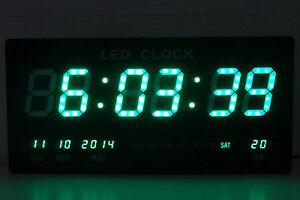 XXL LED digital Wanduhr mit Datum Temperatur Digitaluhr Grün 455x220x33mm