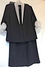 Beautiful! SIASIA~Formal Black 3pc Jacket Sleeveless Top Long Skirt Suit~Sz.16W