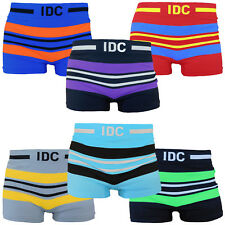 6 Mens Seamless Boxer Briefs Microfiber IDC Compression Underwear Multi color