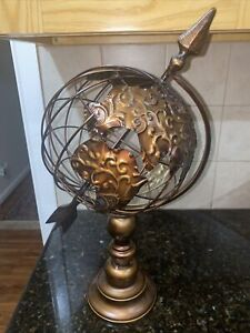 Vintage World Globe Decorative Metal Steel Wire Tabletop Stand Rotates