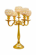 Gold 5 Arm Crystal Globe Candelabras Votive Candle Holders Wedding Centerpieces