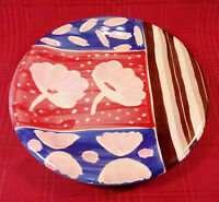 Italy Hand Painted Colorful Pottery Plate 10 Inch Italian Red Blue Brown White