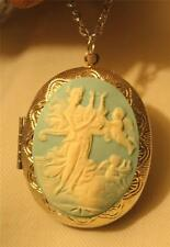 Lovely Blue & Cream Green Muse Goddess Angels Silvetone Locket Pendant Necklace