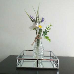Silver Square Metal Frame Tray Candle Plate Center Table Decor Plate 20 X 20 cm