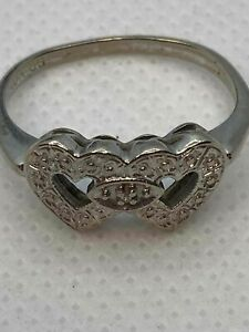 10k White Gold Heart Ring with Small Diamond sz 6 -2.1g