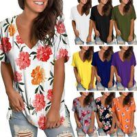 Women T-Shirt Tank Top Loose Fit Short Sleeve  Blouse T Shirt Tops Tee Tunic