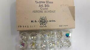 6 large swarovski faceted vintage crystal beads,18mm crystal AB #346