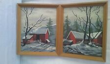 set of two completed and framed paint by numbers senic red barns in winter