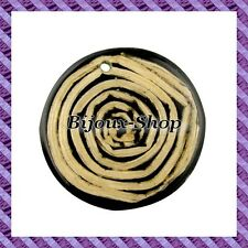 2 Beads Pendant Wood Hairspring Abbaca 35 Mm