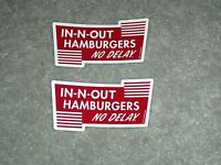 TWO IN N OUT BURGER STICKERS IN AND OUT HAMBURGERS NO DELAY