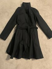 Thomas Burberry Black Vintage Fit & Flare Trench Coat Xs 8