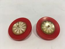 Vintage 2 Red Plastic Buttons Center Design Gold/white with shank 1 5/16""