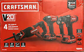 Craftsman CMCK400D2 20V Lith-Ion 4 Tool Combo Kit W/2x 2.0Ah Batt. Charger & Bag