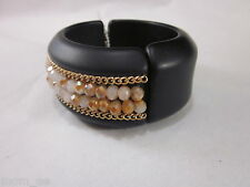 Vera Wang Black Cuff Bangle Bracelet Beads Gold Tone Chain Magnetic Closure New