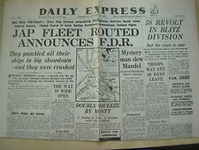 DAILY EXPRESS WWII NEWSPAPER OCTOBER 26 1944 JAP FLEET CRUSHED BY US NAVY