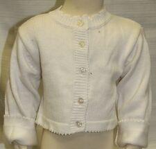 JACADI Girls Balade White LS Button Down Cotton Cardigan Sz 10 Years NWT $58