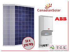 Kit fotovoltaico 3 kW  12 moduli CANADIAN SOLAR 270 Wp + inverter ABB PVI 3.0