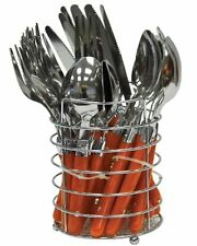 SQ Professional Round Stainless Steel Cutlery Set 24Pcs, Orange
