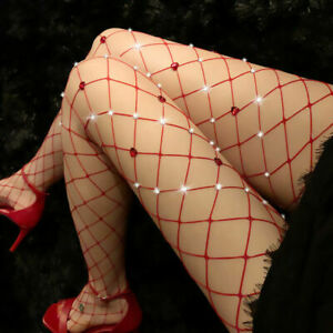 Cozy Feel Women Elastic Stockings Sexy Rhinestone Fishnet Fashion Pantyhose W28