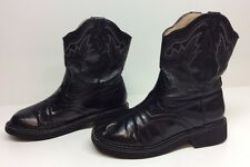 WOMENS ROPER COWBOY LEATHER BLACK BOOTS SIZE 6.5
