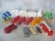 Plastic Toys from the 1960s Fire Trucks, Boats, Bus, Ferris Wheels, Buildings