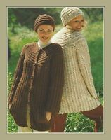 """Ladies Chunky Jacket and Hat Knitting Pattern with unusual yoke 32-38"""" 976"""