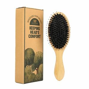 Women Men Boar Bristle Styling Oval Hair Brush With Nylon Pins Bamboo Paddle