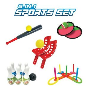 5-n-1 Outdoor Sport Set Age 3+ Bowl-Wiffle Ball-Ring Toss-Scoop Ball-V Toss