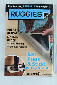 Ruggies Rug Grippers Keeps Carpets Rugs in Place Washable Reusable 8 Pieces