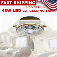 """Low Profile Ceiling Fan With Lamp LED Dimmable Ceiling Light +Remote Control 22"""""""