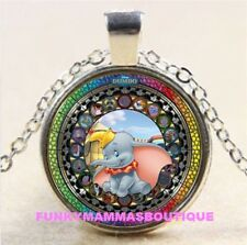 DUMBO THE ELEPHANT KINGDOM OF HEARTS GLASS PENDANT NECKLACE SILVER IN GIFT BAG