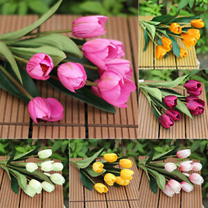 1 BOUQUET 9 HEADS FAKE TULIP ARTIFICIAL SILK FLOWER HOME OFFICE WEDDING DECOR D
