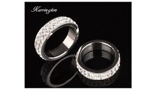 Mens Austrian Crystal Cluster Thick Band Silver Plated Fashion Ring - Size 'P'
