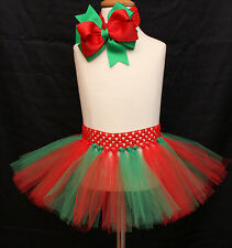 Baby Girl Christmas Tutu Skirt Red Hair Bow Headband Photo Prop Costume Outfit