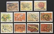Australia stamps 1982 1983 Reptiles & Amphibians Set of 11 MNH