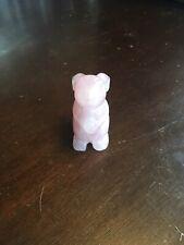(Y-BUN-ST-713) Pink quartz BUNNY RABBIT gemstone carving FIGURINE I love rabbits
