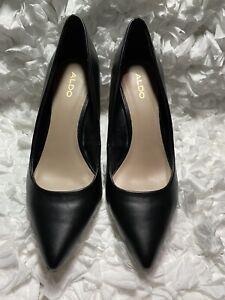 ALDO Black Patent Leather Pointed Toe Slip On High Heels Women's Size 8