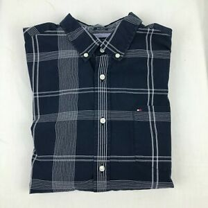 Tommy Hilfiger Mens Button Down Shirt Custom Fit 80s 2Ply Blue Check Size Large