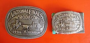 Father and Son 1994 Hesston National Finals Rodeo 2 Belt Buckles