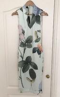 Ladies Girls Ted Baker Rose Print Bodycon Midi Dress Size 6