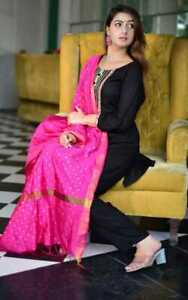 Women Pakistani Black Salwar Kameez Pink Dupatta 2XS-32 Size Palazzo Kurta Dress