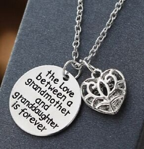 LOVE BETWEEN GRANDMOTHER GRANDDAUGHTER IS FOREVER SILVER NECKLACE GRANDAUGHTER