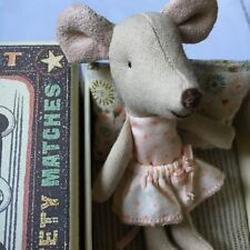 """Maileg Little Sister Mouse """"Retired� Pink Dotted Skirt New In Box Bedding"""