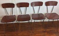 Ensemble de 4 chaises vintage  1960-1970 fornicat et chrome - ( Aspect bois)