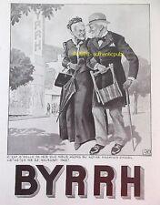 PUBLICITE BYRRH COUPLE DE VIEUX GUERRE DE 1878 SIGNE LEONNEC DE 1937 FRENCH AD