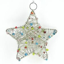 Outdoor Xmas Decoration, Handmade Christmas Beaded Ornament or Silver Star SET/4