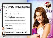 5 cartes invitation anniversaire  Violetta 02  d'autres en vente !!