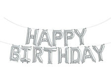 "Happy Birthday Balloon SELF INFLATING Bunting 10"" Foil Letters Banner Silver"